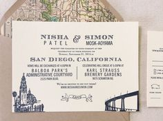Perfect San Diego Letterpress Invitation
