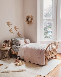 Bedroom For Girls Kids, Little Girl Rooms, Toddler Girl Bedrooms, Childrens Bedroom Decor, Kids Rooms, Rattan Side Table, My New Room, Room Inspiration, Eclectic Decor