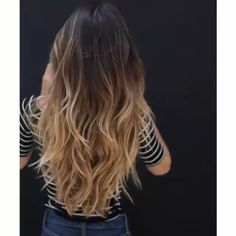 dark brown hair with blonde highlights straightened Ombre Hair Color, Hair Color Balayage, Balayage Long Hair, Cabelo Ombre Hair, Brown Blonde Hair, Highlights In Brown Hair, Brunette Blonde Highlights, Brunette Ombre Balayage, Caramel Ombre Hair