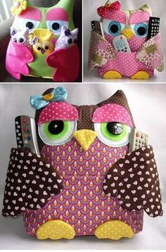 DIY Cute Fabric Owl Pillow with Free Pattern: Sew Owl Pillow Pattern, Owl Cushion, Remoter Owl Snuggle, Owl craft ideas for Home Decor Owl Fabric, Fabric Crafts, Sewing Crafts, Sewing Projects, Craft Projects, Craft Ideas, Sewing Ideas, Diy Ideas, Owl Pillow Pattern