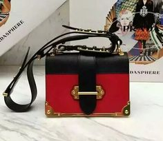 2016 SS Prada saffiano calf leather shoulder bag black+RED