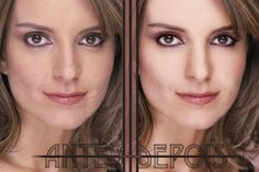 Tina Fey without airbrushing (left, with her famous scar) and with airbrushing (right).
