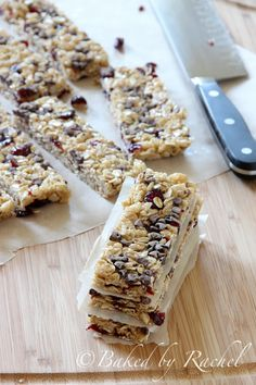 Cranberry Chocolate Chip Granola Bars - bakedbyrachel.com I used white chocolate chips instead of milk chocolate. Awesome combination!
