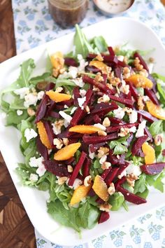 Spring Beet and Goat Cheese Salad with Toasted Walnut Balsamic Vinaigrette #beet #goatcheese #salad
