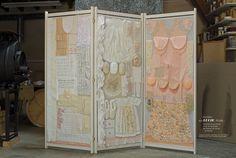 Rose Holzer / LUCIE,L, elle... [2013] / L'histoire d'une femme…d'une vie de femme…des femmes de ma vie... de femme / Paravent 3 vantaux / cadre bois / H : 2 m L : 2,40 m / dentelles et tissus, perles, coquillages, plumes, papiers ... St Joseph, Rose, Divider, 2013, Home Decor, Art, Divider Screen, Fabrics, Bead