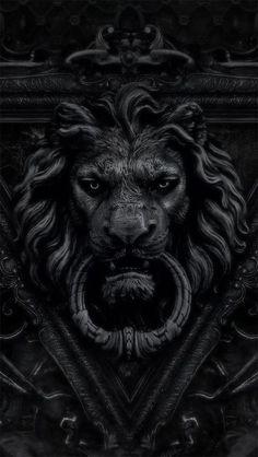 Statue Tattoo, Lion Noir, Ps Wallpaper, Mythology Tattoos, Black Lion, Lion Art, Door Knockers, Door Knobs, Lion Door Knocker