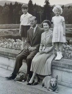 Her Majesty Queen Elizabeth II and her husband Prince Philip and their children, Prince Charles and Princess Anne.  -- 1955