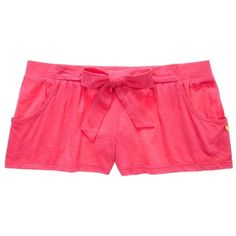 Juicy Couture Short With Self Tie ($30) ❤ liked on Polyvore featuring shorts, pajamas, bottoms, 16. comfy wear., 16. comfy., helium pink, sash belt and juicy couture