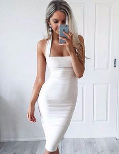 Women's Sexy Bodycon Bandage Halter Strapless Sleeveless Club Dress