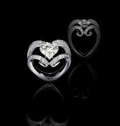 Scavia AMANPURI HEART  Oro bianco, diamante taglio a cuore, diamanti taglio a brillante