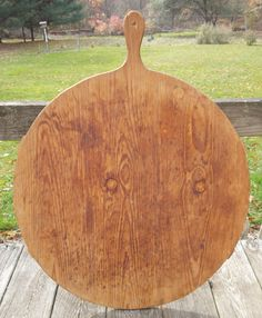 22.5in wide (wow!! that's old one piece lumber) x 28in total length Large Primitive Old Wood Round Lolly Pop Pie Pastry Dough Board