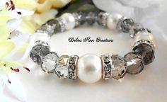 Grey Crystal Bridesmaid BraceletSwarovski by www.DebraAnnCreations.etsy.com