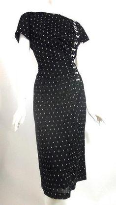 Dorothea's Closet #Vintage #1950s dress, pleated black nylon