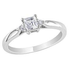 Allura Diamond and 1/3 CT. T.W. Created White Sapphire Ring - Silver, Women's, Size: 5.0, Wht