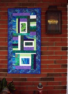 Quilted Abstract Wall Hanging Table Runner by MoranArtandQuilts