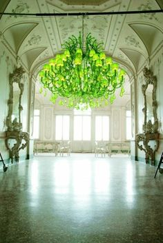 paint it neon green. find a neon green chandelier? Green Chandeliers, Modern Chandelier, Chandelier Lighting, Glass Chandelier, Victorian Chandelier, Luminaire Design, Shades Of Green, Green Colors, Bright Green