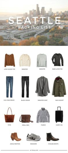 What to pack for Seattle Fall travel packing list Weekend Packing List, Packing List For Travel, Vacation Packing, Travel Tips, Weekend Vacations, Budget Travel, Winter Travel Packing, Packing Hacks, Packing Ideas