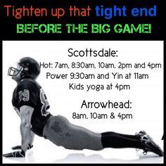"@True Hot Yoga's photo: ""Join us before the big game! Lots to choose from! #truehotyoga #yogaeveryday #hotyoga #yin #powerflow #SuperBowl #Sunday #broncos #seahawks #scottsdale #glendale #arrowheadranch #arizona"""