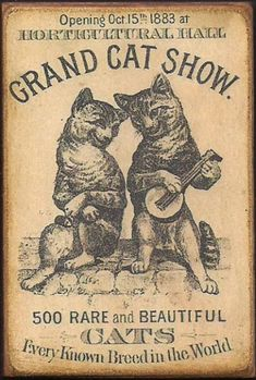 Wood Magnet Cats Grand Cat Show 1883 Vintage by MyFathersHouse4