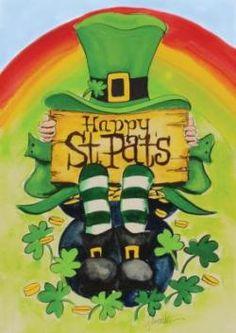 Toland Home Garden Happy Saint Pats 28 x 40 Inch Decorative Happy St Patrick's Day Leprechaun Rainbow Pot Gold House Flag Fete Saint Patrick, Sant Patrick, Saint Patricks Day Art, Happy St Patricks Day, St Patrick's Day Decorations, St Pats, St Paddys Day, Flag Decor, Gnomes