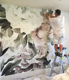 How to use wall murals instead of traditional wallpaper in the nursery or kid's room, plus a sneak peak into one of my latest design projects! wallpaper How to Use Wall Murals in the Nursery or Kid's Room Nursery Wall Murals, Nursery Wallpaper, Nursery Room, Wallpaper Decor, Home Wallpaper, Wallpaper Ideas, Large Floral Wallpaper, Floral Wallpapers, Kindergarten Wallpaper