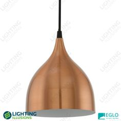 170mm Copper Dome Eglo Coretto White Steel Pendant Light - Shop Copper Pendant Lights, Shop Lighting, Modern Industrial, Save Energy, Ceiling Lights, Steel, Raising Girls, Advice, Pendants