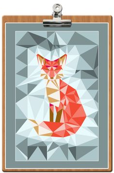free-printable-poster-fox-geodesic-bleu Free Poster Printables, Free Printable Stationery, Printable Wall Art, Fox Quilt, 3 Piece Art, Letter Set, Illustrations, Paper Piecing, Diy