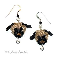 Fawn PUG LOVE beaded sterling silver heart por thelonebeader
