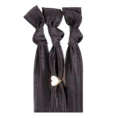 Ursula™  Gold Heart Bauble Hair Tie Set 3 Solid Black | 1 Gold Heart Bauble. This gold charm is the perfect adorable accent.