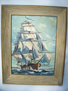VINTAGE PAINT BY NUMBER NAUTICAL CLIPPER SHIP PAINTING WOOD FRAME MID CENTURY