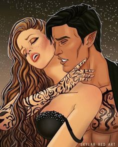 High Lord and High Lady of the Night Court by SkylarRedArt on DeviantArt A Court Of Wings And Ruin, A Court Of Mist And Fury, Fan Art, Arte Van Gogh, Feyre And Rhysand, Sarah J Maas Books, Throne Of Glass Series, Crescent City, Book Characters