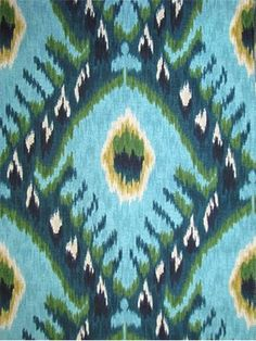 """Bold Ikat Aqua - Robert Allen Fabric - 100% cotton ikat print. Durable 100,000 double rubs. Perfect for upholstery fabric, or, drapery fabric. Repeat; V 13.5"""" H 6.75"""". 55"""" wide."""