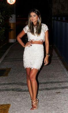 Look: Thassia Naves - Cropped e Saia de Renda