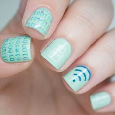 Neat Wi-Fi 1s and 0s nail design