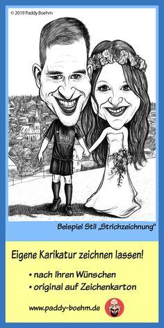 Karikatur vom Foto ~ Portrait nach Foto Brautpaar Motiv 4// Hochzeit *Geschenk*