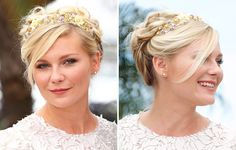 To get Kirsten Dunst hair style: Part on the side and divide hair into 3 sections. Twist each into a loose bun at the crown and pin. Spritz with Kerastase Chroma Cristal shine perfecting mist.