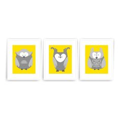 Printable DIY Nursery Art Yellow Grey Owl Woodland Nursery