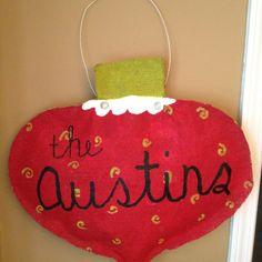 Burlap Christmas door hanger