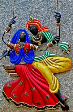 is an amazing painting made up of copper which depicts the great handicraft and painting style of India. Clay Wall Art, Mural Wall Art, Clay Art, Murals, Krishna Painting, Krishna Art, Hare Krishna, Zantangle Art, Radha Krishna Wallpaper