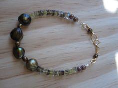 Golden green fresh water pearl lemon quartz gold by GemGlassCraft