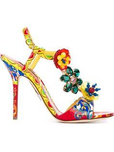 DOLCE & GABBANA Carretto Siciliano Print Sandals. #dolcegabbana #shoes #sandals