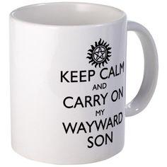 SUPERNATURAL KEEP CALM And Carry On My Wayward Son Black Text Ceramic Mug