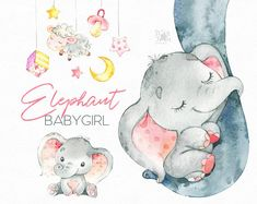 This Elephant Babygirl clipart set is just what you needed for the perfect invitations, craft projects, paper products, party decorations, printable, greetings cards, posters, stationery, scrapbooking, stickers, t-shirts, baby clothes, web designs and much more. This collection