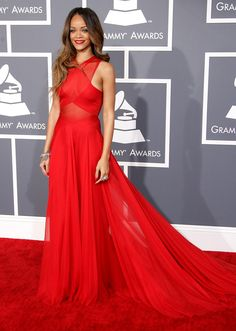 celebrities+red+carpet | ... red carpet 2013 rihanna long gown red red lipstick long brown hair
