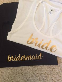These Bride & Bridesmaid Tank Tops are a great addition to any Bachelorette Party, Bridal Shower or even for your bridal party while you get ready on the Big Day. One white shirt for the Bride is included, the color you select will be for the remaining party attendees.   Here are the tank top color options as photographed: Black Bright Pink Cancun Grey Indigo Mint Navy Red Scarlet White  Font Color options are:  Black  Glitter Gold (for an additional $2.00 per shirt) Gold  White  Sizing: ...