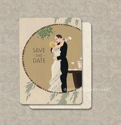 Vintage Wedding Invitations Save the Dates Art Deco Wedding-  My Man Godfrey Theme Set of 100. $90.00, via Etsy.
