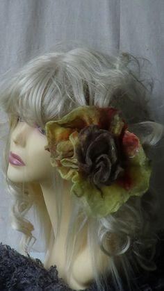 Flower brooch hair clip wet felted jewelry Handmade by rafaelart, $12.00