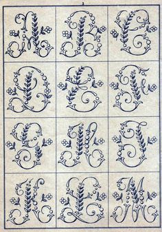 Ribbon Embroidery Patterns Free Easy Cross, Pattern Maker, PCStitch Charts Free Historic Old Pattern Books: Sajou No 346 Embroidery Alphabet, Embroidery Monogram, Cross Stitch Alphabet, Silk Ribbon Embroidery, Hand Embroidery Patterns, Vintage Embroidery, Cross Stitch Embroidery, Machine Embroidery, Embroidery Designs