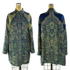 Reversible Paisley Duster / Vintage 1980s Woven Cotton Kimono Coat / Artsy Bohemian / Art to Wear