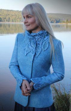 Купить Жакет валяный Льдинка - голубой, однотонный, жакет валяный, жакет женский, войлочный жакет